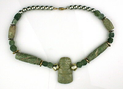 Jade Bead Necklace With Pre-Columbian Olmecoid Axe God
