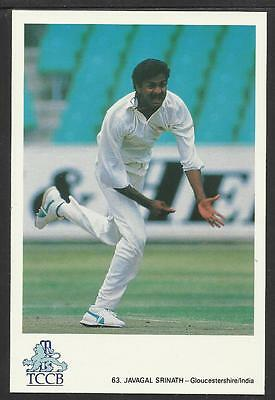 JAVAGAL SRINATH -- GLOUCESTERSHIRE & INDIA. OFFICIAL TCCB  POSTCARD No. 63