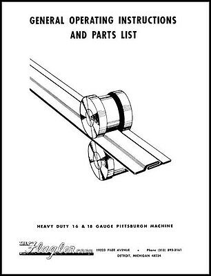 Flagler Heavy Duty 16 & 18 Gauge Pittsburgh Machine Manual