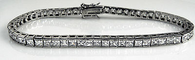 """Italy CL CZ Cubic Zirconia Sterling 925 TENNIS Bracelet w Clear Crystals 7.5"""""""