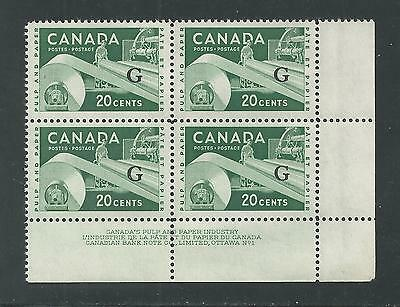 CANADA # O/45 Official, MNH PULP AND PAPER INDUSTRY (Plate Block of Four)