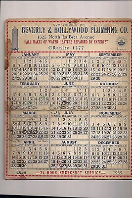 Beverly & Hollywood Plumbing Co.1935 Calendar