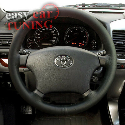For Toyota Land Cruiser 100 98-07 Black Genuine Leather Steering Wheel Cover