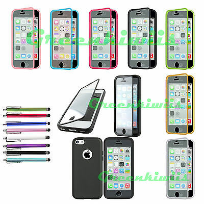 For Apple iPhone 5C TPU Case Cover with Built In Screen Protector Free Stylus