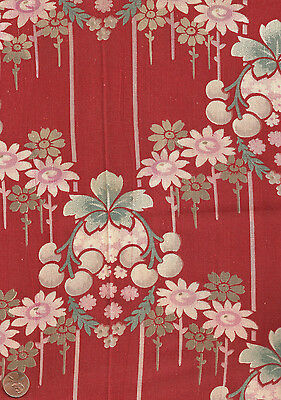 Antique 1880 Large Print Fruit & Floral Fabric