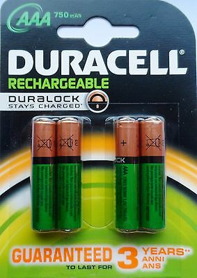 4 x AAA DURACELL HOME PHONE DECT RECHARGEABLE BATTERIES 750mAh STAY CHARGED