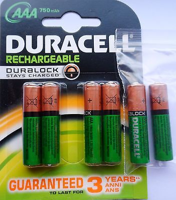 6 x AAA DURACELL HOME PHONE DECT RECHARGEABLE BATTERIES 750mAh STAY CHARGED