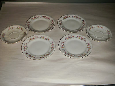 LOT OF 6 VINTAGE JAROLINA 4 LUNCH PLATES 2 SAUCERS ROSES & FLOWERS MADE POLAND