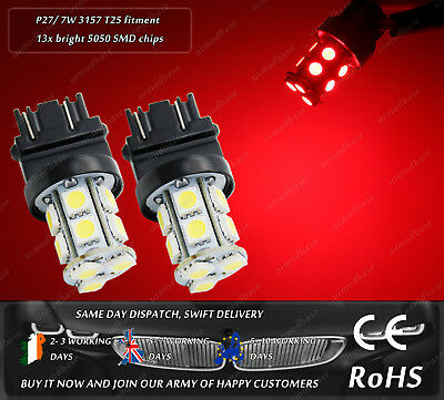2x T25 3157 P27 /7W LED Red HID Bulbs Dual Mode Two Lights Tail Stop Rear Lamp