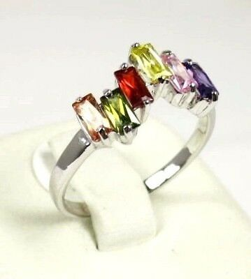 R#1609 Simulated Multi-colored Gemstone ladies Silver ring Size 7