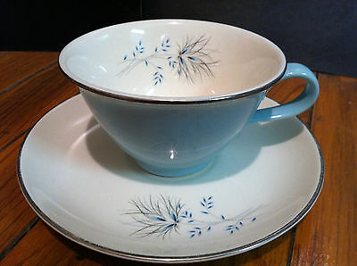 VintageHard2Find Taylor Smith Taylor Turquoise OstrichPlume Cup & Saucer Set