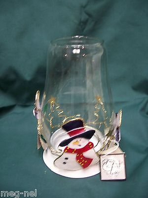 Christmas Three Snowman with Gold Trees Glass  Candle Holder New