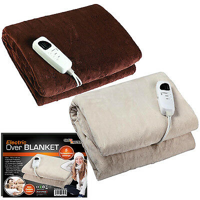 Electric Throw Over Blanket Warm Heated Washable Comfort Fleece Adjustable Cozy
