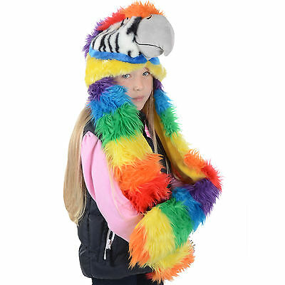 Childrens Deluxe Animal Hat With Attached Scarf & Mittens Faux Fur New - Parrot