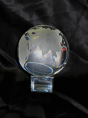 "Shannon Crystal Globe with base about 6"" tall"