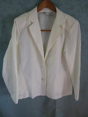 Vintage 1990's Sarah Bentley Blazer Size Small Off-White Sparkly Holiday Jacket