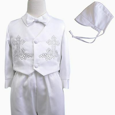 New Baby Boy Toddler Christening Baptism Suit long pants Gown Outfits sz XS-4T