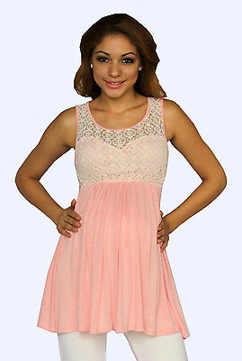 Pink White Maternity Blouse Casual Womens Lace Sleeveless Button Floral S M L XL