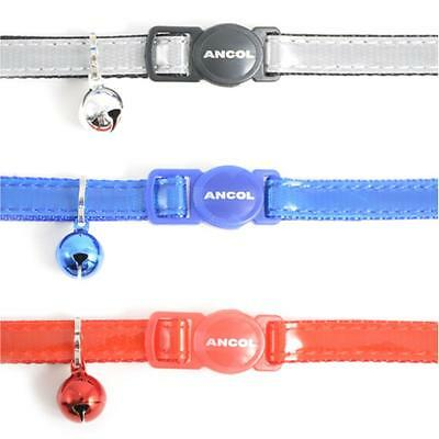 Ancol Cat Kitten Reflective Gloss Collar Red Blue Silver Night Safety Clip Bell