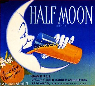 Redlands Half Moon Crescent Orange Citrus Fruit Crate Label Art Print