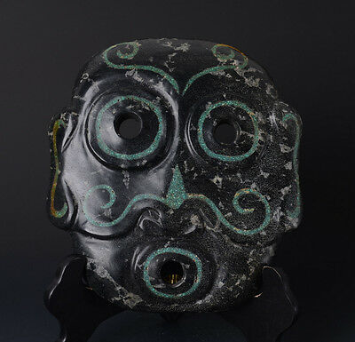 Beautiful Chinese QiJia Style Large Jade Mask Carving(Turquoise Inlaid)-JR11014