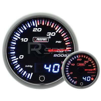 60mm JDM Smoked Style 40 PSi Boost Dual Stepper Motor Gauge with warning
