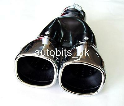 Sport Chrome Universal Exhaust Tail Tip Pipe Muffler Trim Dual Twin 355