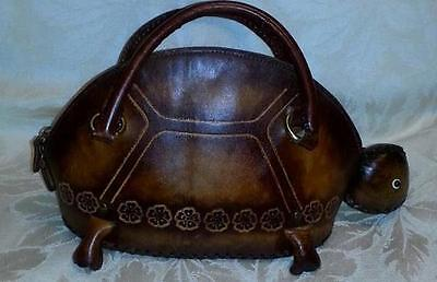 Handcrafted Leather Brown Turtle Purse Bag NEW