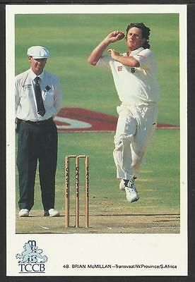 BRIAN McMILLAN -- SOUTH AFRICA. OFFICIAL TCCB  POSTCARD No. 48.