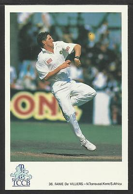 FANIE De VILLIERS KENT/SOUTH AFRICA. OFFICIAL TCCB  POSTCARD No. 36