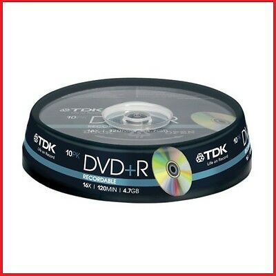 TDK DVD+R 4.7GB 16x Speed 120min Recordable DVD Discs Spindle Pack 10 (T19442)