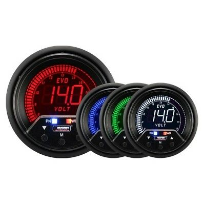 Prosport Evo 60mm LCD DC Voltage Gauge 4 colour with peak and warning