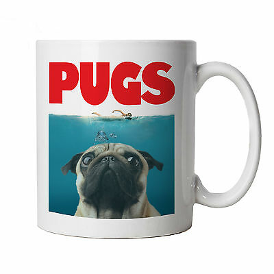 Pugs Mug - Funny Pug Dog Jaws Parody - Gift for Him Dad, Fathers Day, Birthday