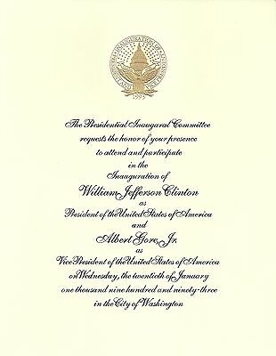 Bill Clinton Al Gore Inaugural Invitation