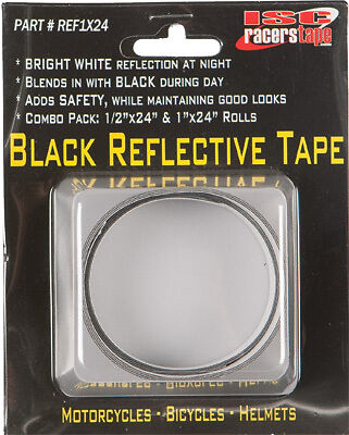 """BLACK REFLECTIVE TAPE 1/2X24"""" & 1X24"""" Motorcycles Bicycles Helmets"""