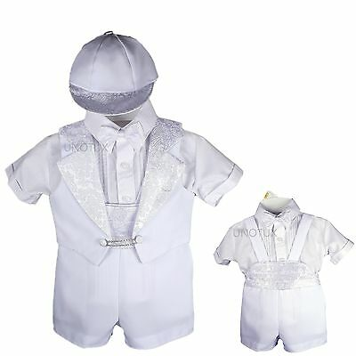 Baby Boy kids Christening Baptism Formal Tuxedo Suit White New Born to 30 months