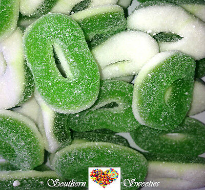 GREEN & WHITE TROLLI APPLE RINGS 1.5KG Gummy Lollies Candy Buffet approx 215t
