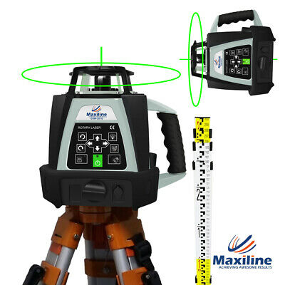 New Green Beam Auto Self Levelling Rotating Rotary Laser Level + Tripod + Staff