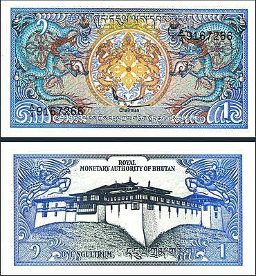 BHUTAN 1 NGULTRUM 1986 UNC 20 PCS CONSECUTIVE LOT DRAGON DZONG P 12a