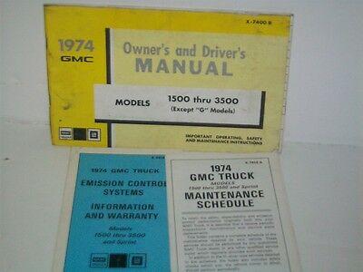 1974 GMC pick-up truck owners manual
