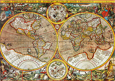 world map atlas globe earth antique old vintage print canvas or satin paper 70cm