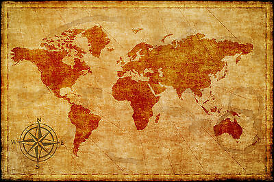 world map atlas globe earth compass art print photo rustic painting vintage