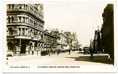 C.1920'S RP NPU POSTCARD ST GEORGES TCE PERTH LOOKING WEST WA ROYAL SERIES b33