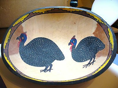 "Wonderful Hand-Painted Primitive Bowl, Oval 11.5"" x 9.5"", Two Spotted Hens"