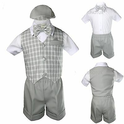 Silver Gray Baby Boy Toddler Formal Shorts Vest Set Suit Checks Gingham S - 4T
