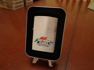 Daytona 500 Nascar Brush Chrome Zippo Lighter Mint In Box 1999
