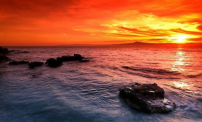 Australian   sunset ocean seascape red orange landscape print modern photo