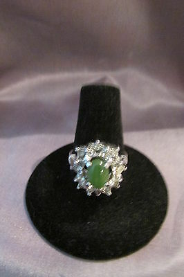 Dainty Cocktail  Silver   Plated Green Oval Cut Stone Ring *u0