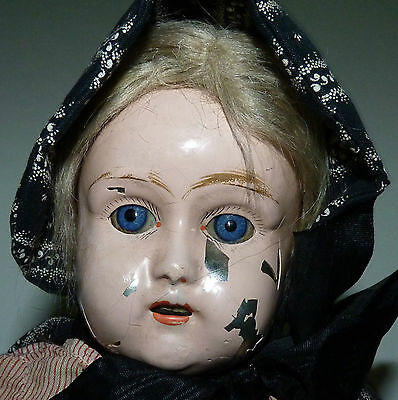 ANTIQUE VTG GERMAN METAL HEAD GERMANY GIRL WOMAN DOLL GLASS EYES RARE a5