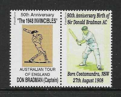 BRADMAN 90th Birth Anniv & INVINCIBLES CRICKET TOUR of ENGLAND CINDERELLA STAMPS